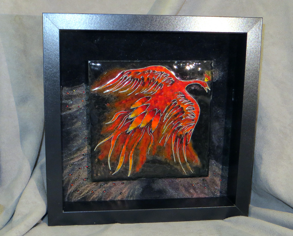 framed firebird tile