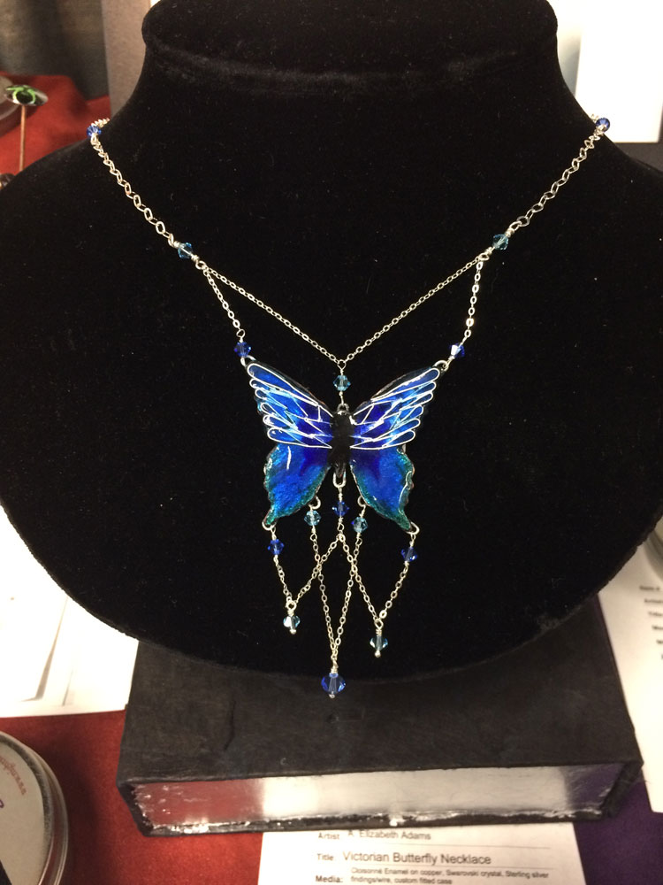 Blue Butterfly Necklace with Fitted Case